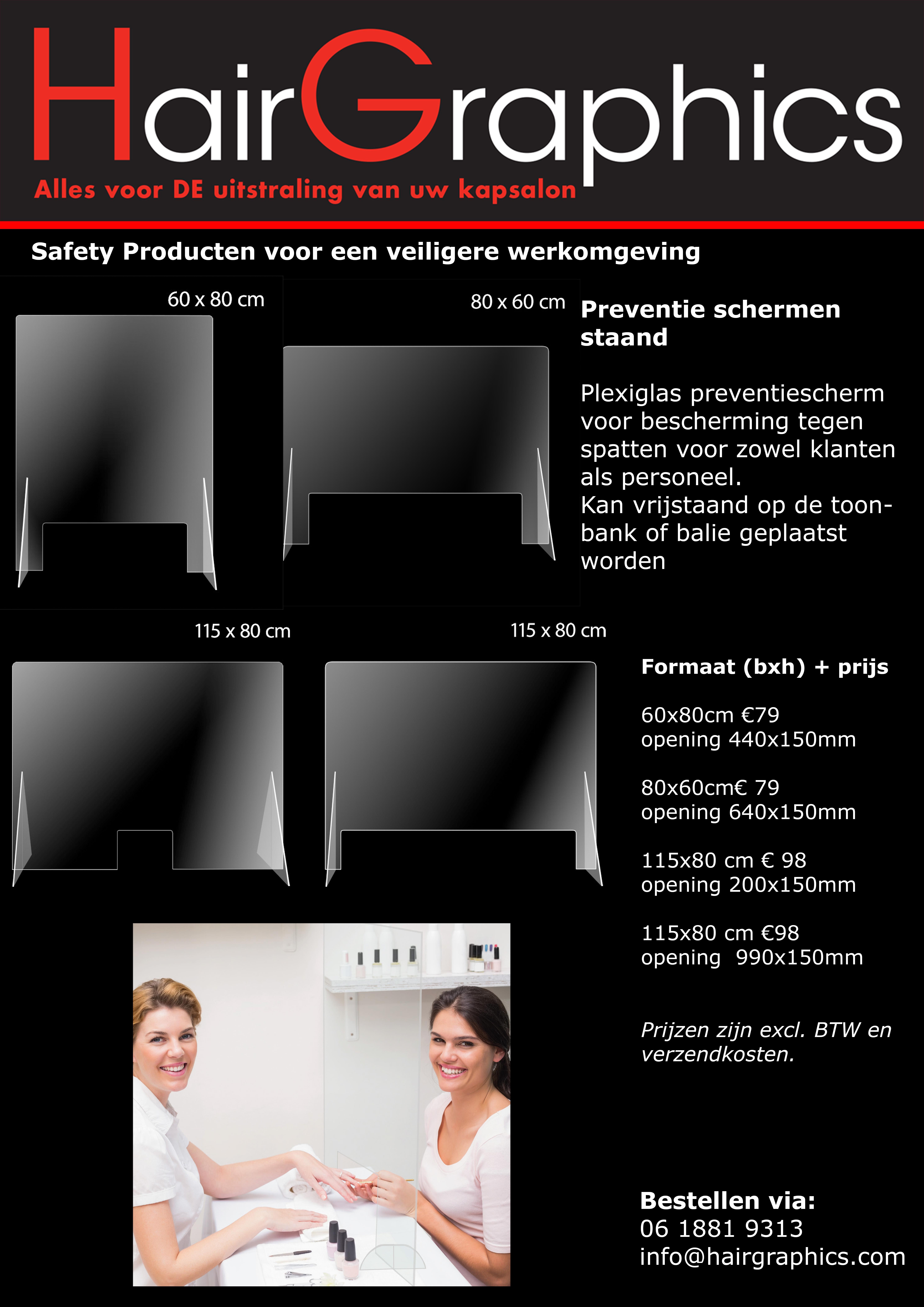 Preventie scherm Plexiglas staand