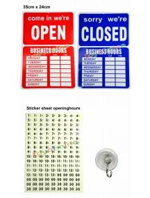 NIEUW - Open / Gesloten bordje - rood/blauw